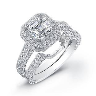 Natural 3.27 CTW Halo Asscher Cut Diamond Engagement