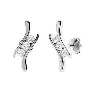 0.24 CTW Diamond Halo Earrings 18K White Gold