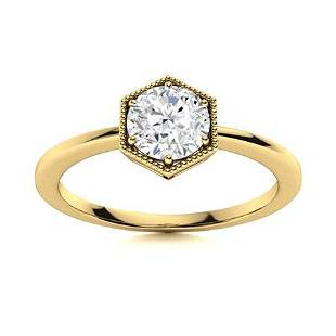 Natural 0.41 CTW Topaz Solitaire Ring 14K Yellow Gold