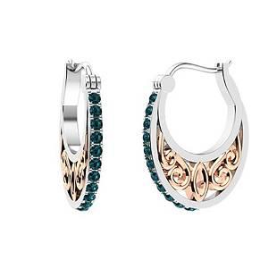0.56 CTW Blue Diamond Hoops Earrings 14K White Gold