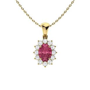 1.29 ctw Sapphire & Diamond Necklace 14K Yellow Gold