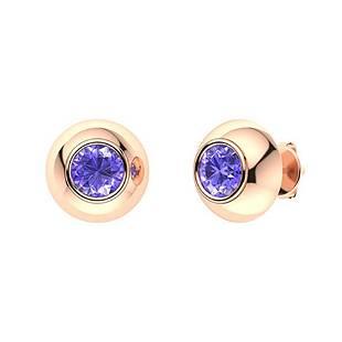 2.46 CTW Tanzanite Studs Earrings 18K Rose Gold