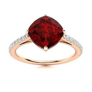 Natural 2.41 CTW Garnet & Diamond Engagement Ring 14K
