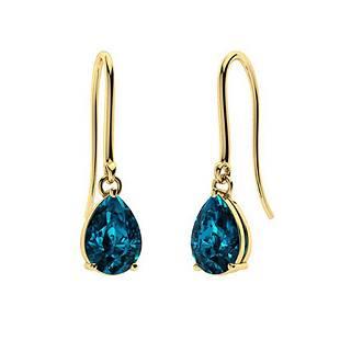 2.36 CTW London Blue Topaz Drops Earrings 14K Yellow