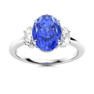 Natural 3.28 CTW Ceylon Sapphire & Diamond Engagement