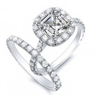 Natural 2.12 CTW Halo Asscher Cut Diamond Engagement