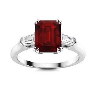 Natural 1.74 CTW Garnet & Diamond Engagement Ring 18K