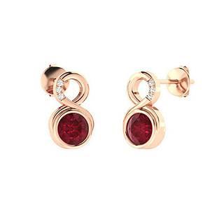 1.25 CTW Ruby & Diamond Drops Earrings 18K Rose Gold
