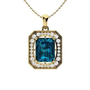 3.91 ctw Topaz & Diamond Necklace 18K Yellow Gold