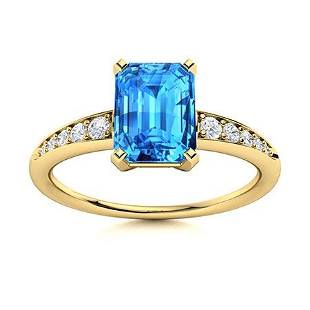 Natural 0.75 CTW Topaz & Diamond Engagement Ring 14K