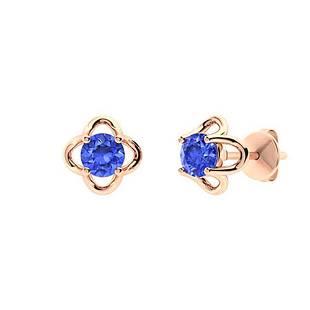 1.56 CTW Ceylon Sapphire Studs Earrings 18K Rose Gold