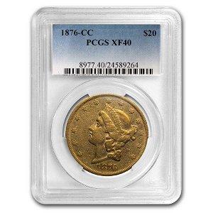 1876-CC $20 Liberty Gold Double Eagle XF-40 PCGS