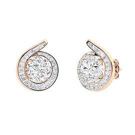 2.12 CTW Diamond Halo Earrings 14K Rose Gold