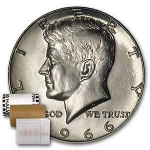 1966 Kennedy Half Dollar 20-Coin Roll BU