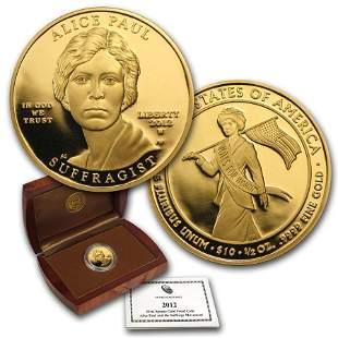2012-W 1/2 oz Proof Gold Alice Paul (w/Box & COA)