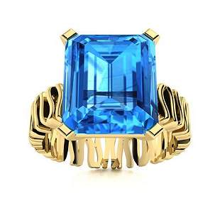Natural 7.05 CTW Topaz Solitaire Ring 14K Yellow Gold