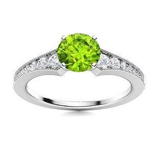 Natural 1.30 CTW Peridot & Diamond Engagement Ring 18K