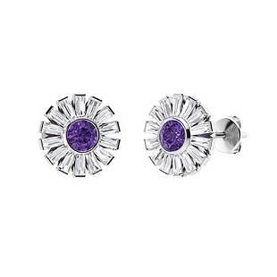 4.76 CTW Amethyst & Diamond Halo Earrings 14K White
