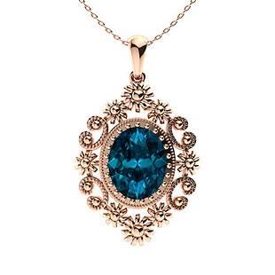 5.3 ctw London Blue Topaz Necklace 18K Rose Gold
