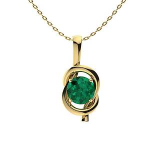 0.62 ctw Emerald Necklace 14K Yellow Gold