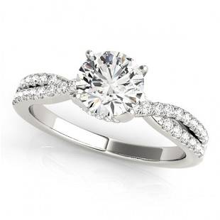 Natural 0.8 ctw Diamond Solitaire Ring 14k White Gold
