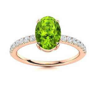 Natural 1.15 CTW Peridot & Diamond Engagement Ring 14K