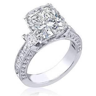 Natural 3.12 CTW Cushion Cut Diamond Engagement Ring