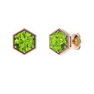 0.86 CTW Peridot Studs Earrings 18K Rose Gold