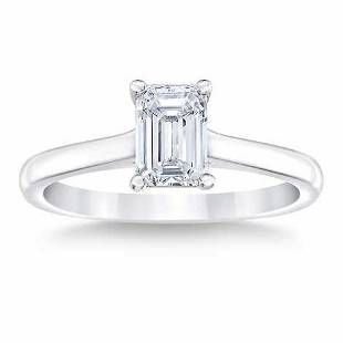 Natural 2 CT Diamond Solitaire Ring 18K White Gold