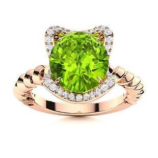 Natural 1.98 CTW Peridot & Diamond Engagement Ring 18K