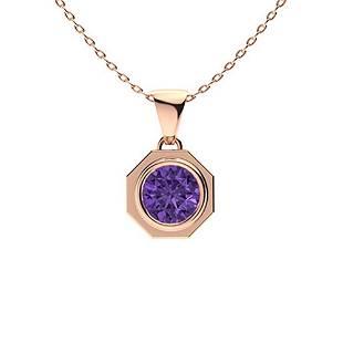 0.42 ctw Amethyst Necklace 18K Rose Gold