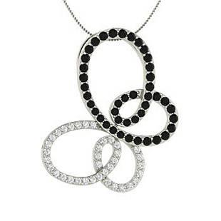 1.05 ctw White & Black Diamond Necklace 14K White Gold