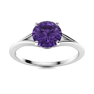 Natural 1.06 CTW Amethyst Solitaire Ring 18K White Gold