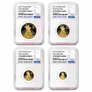 2017-W 4-Coin Proof American Gold Eagle Set PF-70 NGC