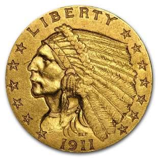 1911 $2.50 Indian Gold Quarter Eagle AU