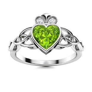 Natural 0.89 CTW Peridot & Diamond Engagement Ring 14K
