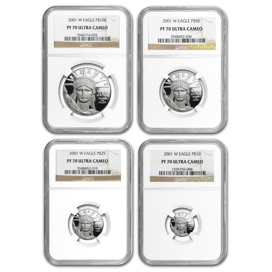 2001-W 4-Coin Proof American Platinum Eagle Set PF-70