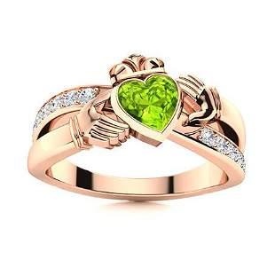 Natural 0.72 CTW Peridot & Diamond Engagement Ring 18K
