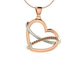0.08 ctw Brown Diamond Necklace 18K Rose Gold