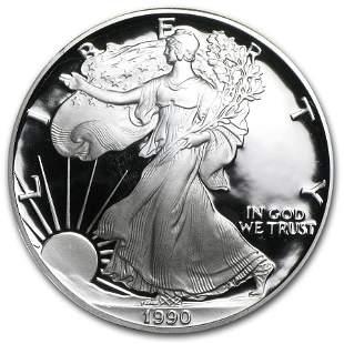 1990-S 1 oz Proof American Silver Eagle (w/Box & COA)
