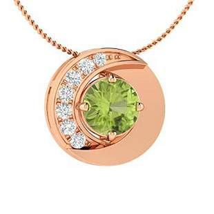 0.49 ctw Peridot & Diamond Necklace 18K Rose Gold