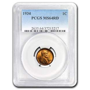 1934 Lincoln Cent MS-64 PCGS (Red)