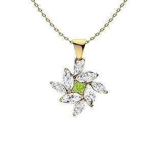 1.08 ctw Peridot & Diamond Necklace 14K Yellow Gold