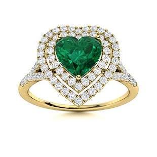 Natural 1.31 CTW Emerald & Diamond Engagement Ring 14K
