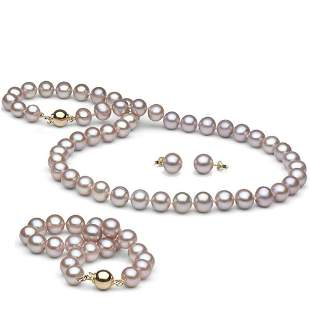 Lavender Freshwater Pearl 3-Piece Jewelry Set,