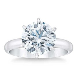 Natural 3 CT Diamond Solitaire Ring 18K White Gold