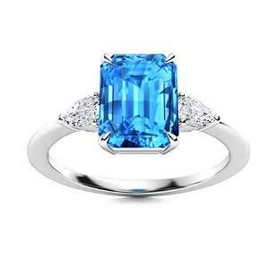 Natural 5.44 CTW Topaz & Diamond Engagement Ring 18K