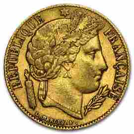 1849-1851 France Gold 20 Francs Early Head Ceres Avg