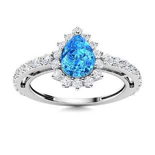 Natural 1.64 CTW Topaz & Diamond Engagement Ring 14K