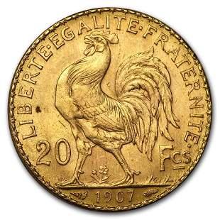 1907 France Gold 20 Francs Rooster BU